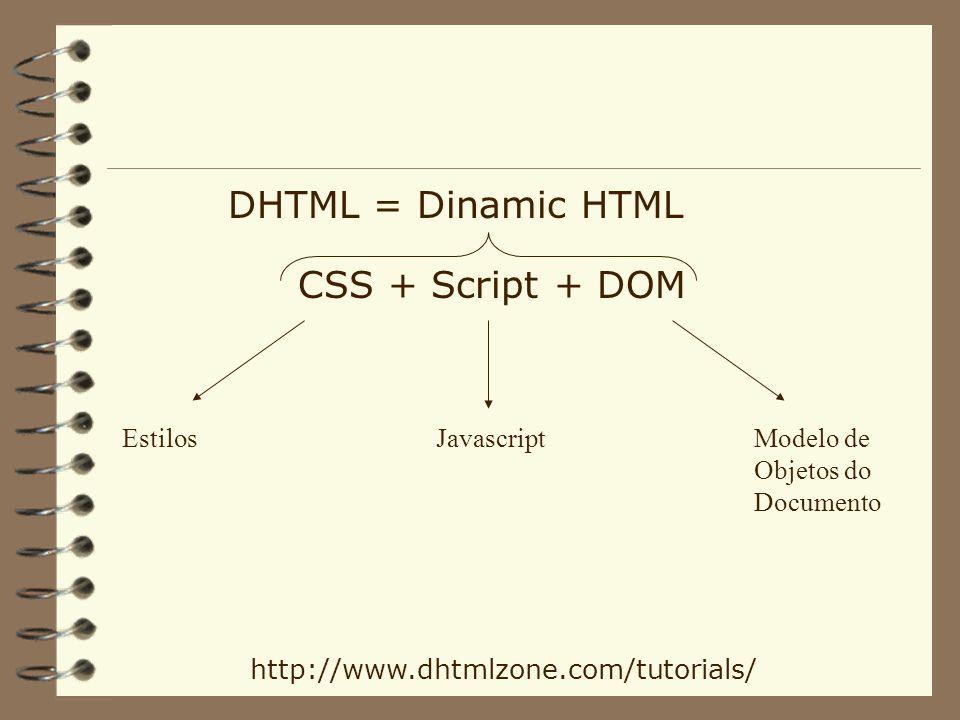 DHTML = Dinamic HTML CSS + Script + DOM EstilosJavascriptModelo de Objetos do Documento http://www.dhtmlzone.com/tutorials/