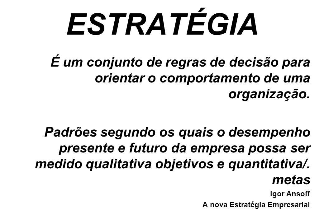 ESTRATÉGIA É um conjunto de regras de decisão para orientar o comportamento de uma organização. Padrões segundo os quais o desempenho presente e futur