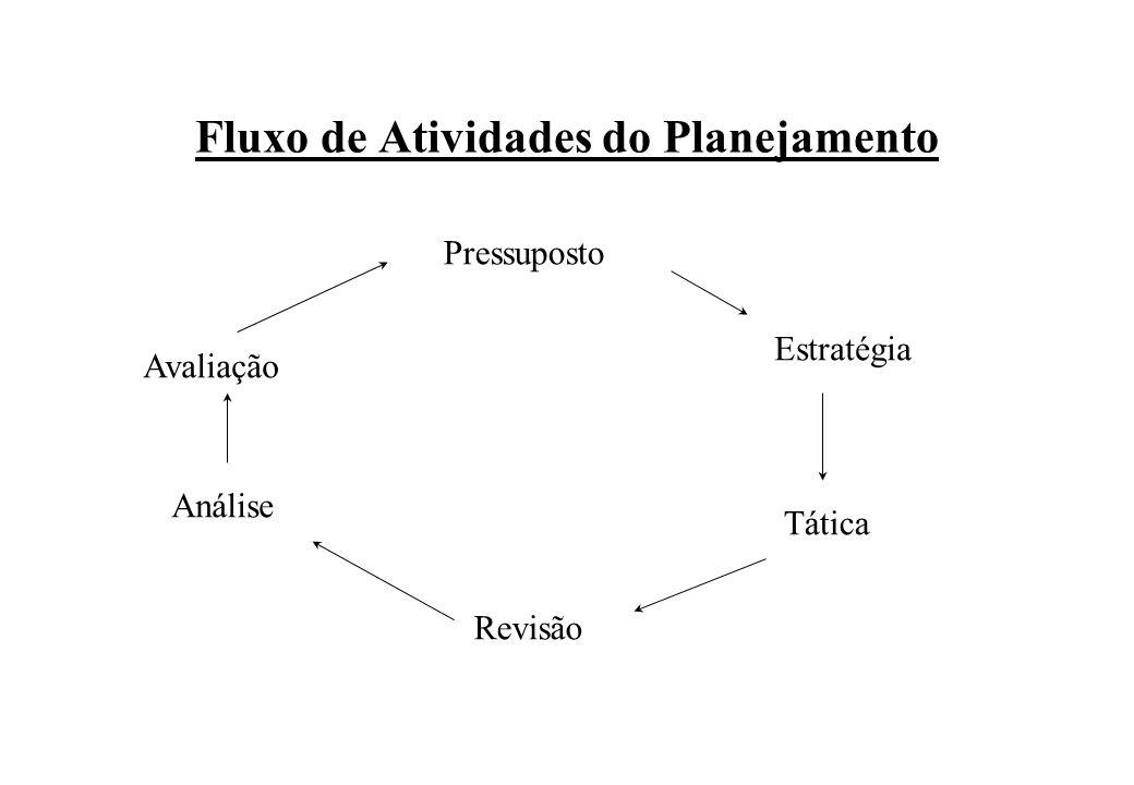 Fluxo de Atividades do Planejamento Pressuposto Estratégia Tática Avaliação Análise Revisão