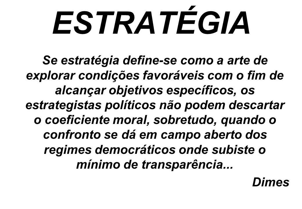 ESTRATÉGIA Se estratégia define-se como a arte de explorar condições favoráveis com o fim de alcançar objetivos específicos, os estrategistas político
