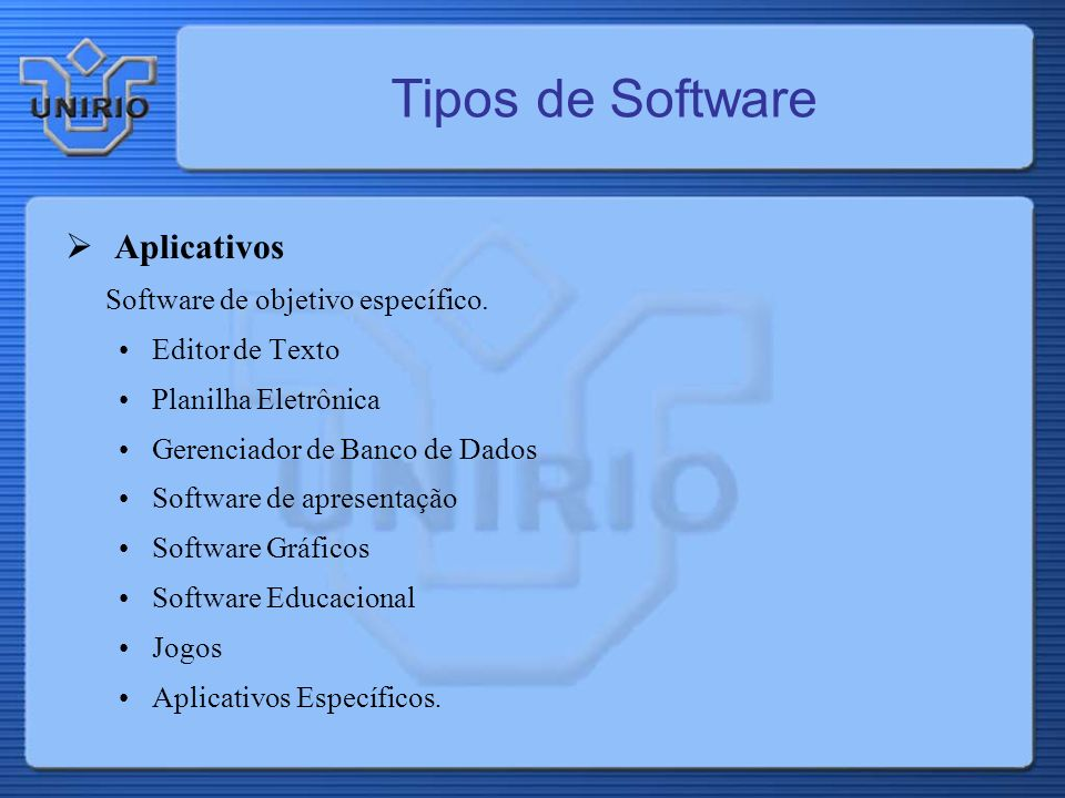 Tipos de Software Aplicativos Software de objetivo específico. Editor de Texto Planilha Eletrônica Gerenciador de Banco de Dados Software de apresenta