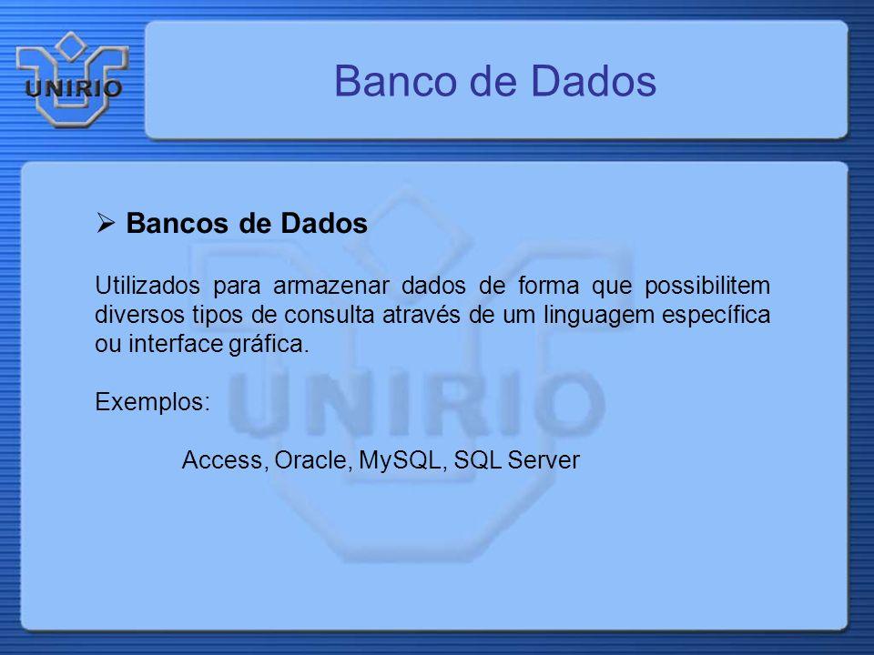 Banco de Dados Bancos de Dados Utilizados para armazenar dados de forma que possibilitem diversos tipos de consulta através de um linguagem específica