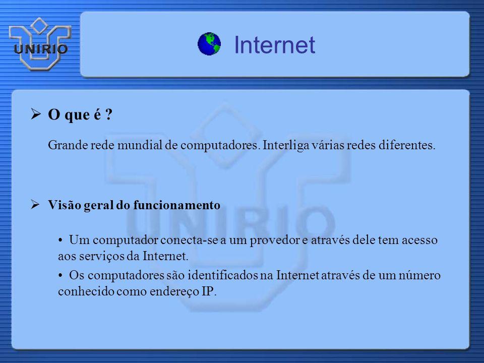 Internet O que é ? Grande rede mundial de computadores. Interliga várias redes diferentes. Visão geral do funcionamento Um computador conecta-se a um