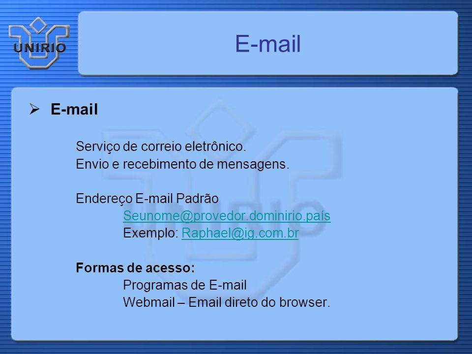 E-mail Serviço de correio eletrônico. Envio e recebimento de mensagens. Endereço E-mail Padrão Seunome@provedor.dominirio.país Exemplo: Raphael@ig.com