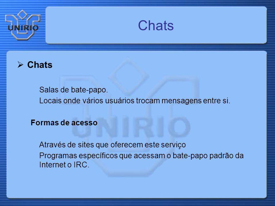 Chats Salas de bate-papo. Locais onde vários usuários trocam mensagens entre si. Formas de acesso Através de sites que oferecem este serviço Programas