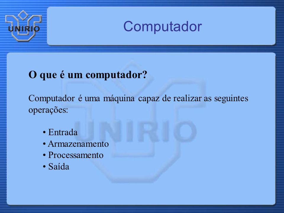 Computador O que é um computador? Computador é uma máquina capaz de realizar as seguintes operações: Entrada Armazenamento Processamento Saída