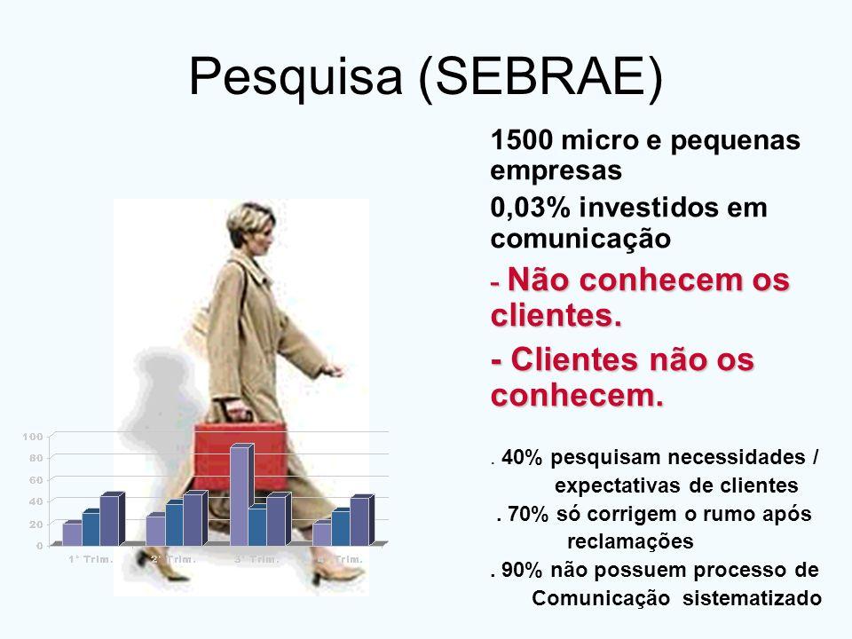 Pesquisa (SEBRAE) 1500 micro e pequenas empresas 0,03% investidos em comunicação - Não conhecem os clientes. - Clientes não os conhecem.. 40% pesquisa