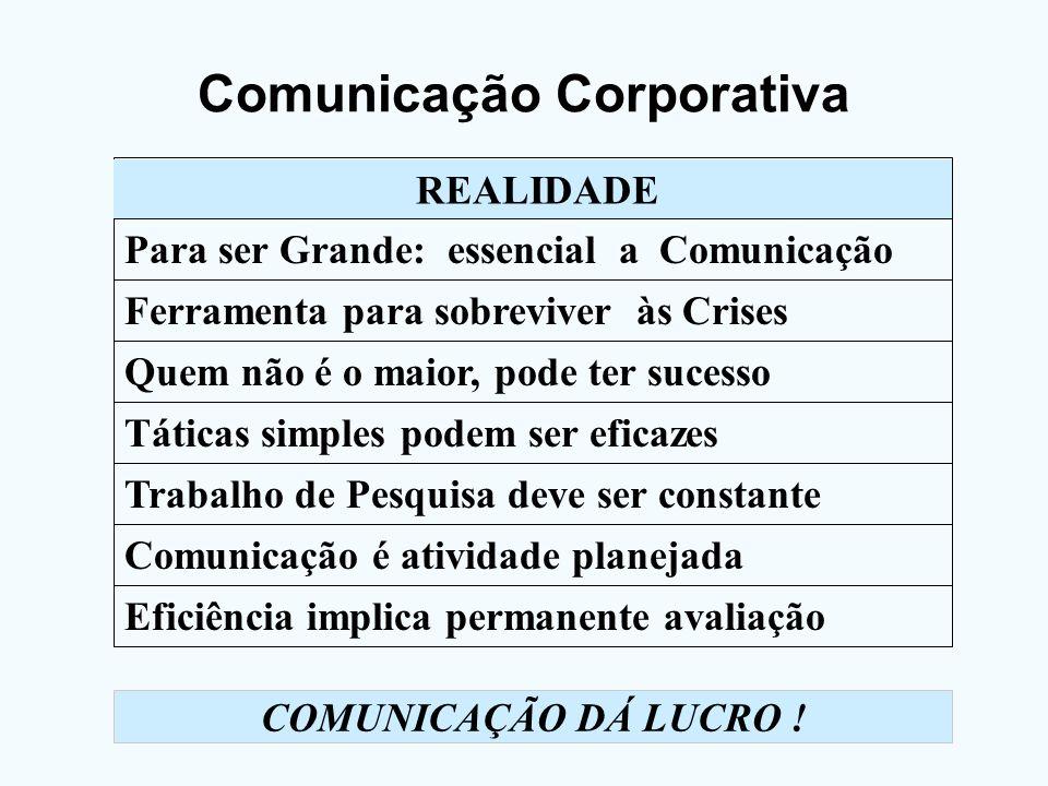 Comunicação Corporativa REALIDADE Para ser Grande: essencial a Comunicação Ferramenta para sobreviver às Crises Quem não é o maior, pode ter sucesso T