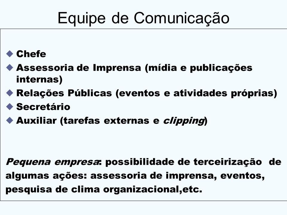 Equipe de Comunicação Chefe Assessoria de Imprensa (mídia e publicações internas) Relações Públicas (eventos e atividades próprias) Secretário Auxilia