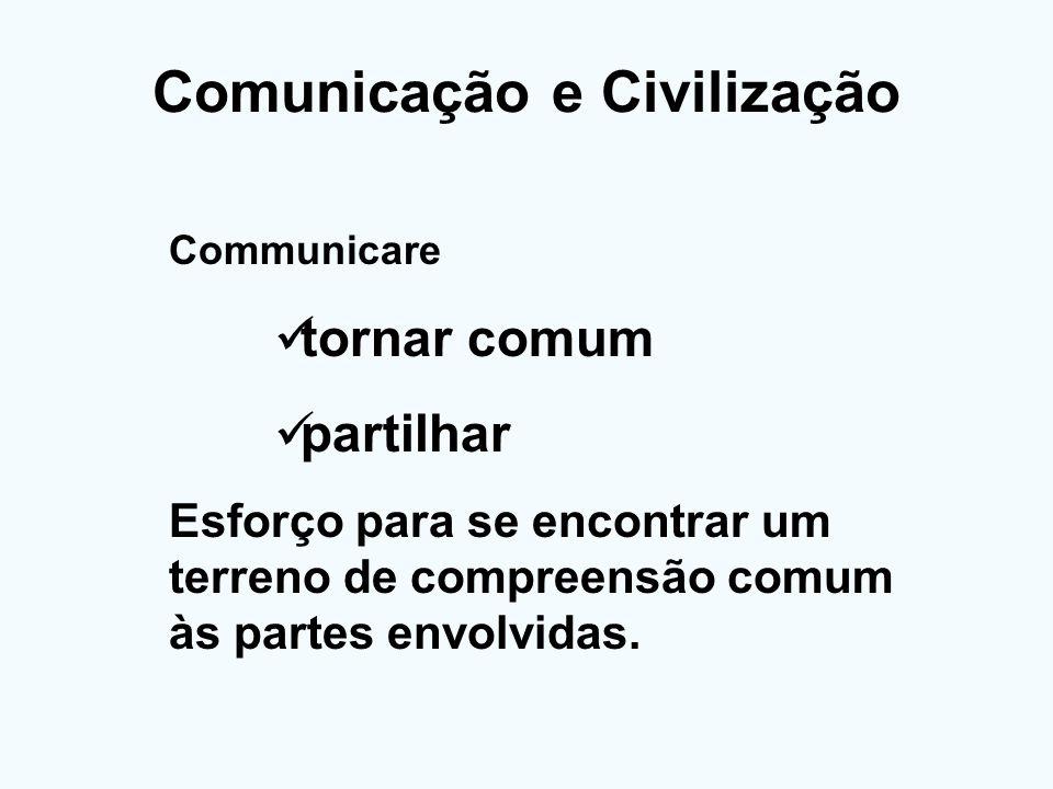 Comunicação e Civilização Communicare tornar comum partilhar Esforço para se encontrar um terreno de compreensão comum às partes envolvidas.
