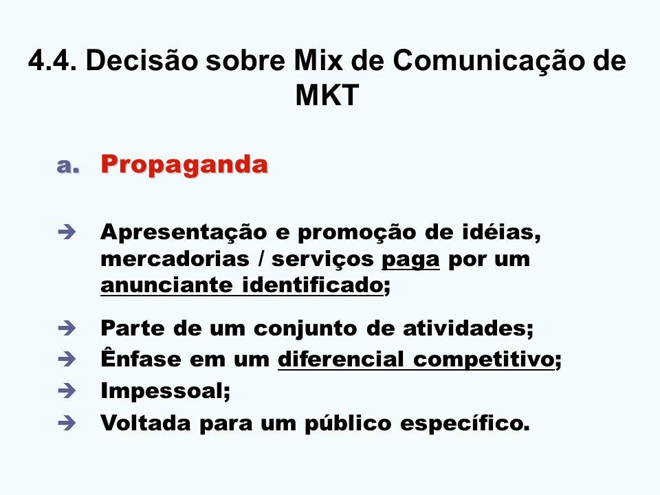4.4. DECISÃO SOBRE O MIX DE COMUNICAÇÃO 4.4. Decisão sobre Mix de Comunicação de MKT a. Propaganda Apresentação e promoção de idéias, mercadorias / se
