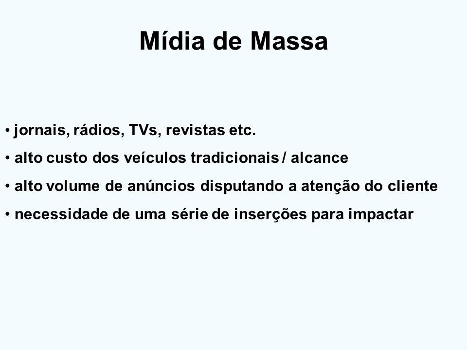 Mídia de Massa jornais, rádios, TVs, revistas etc. alto custo dos veículos tradicionais / alcance alto volume de anúncios disputando a atenção do clie