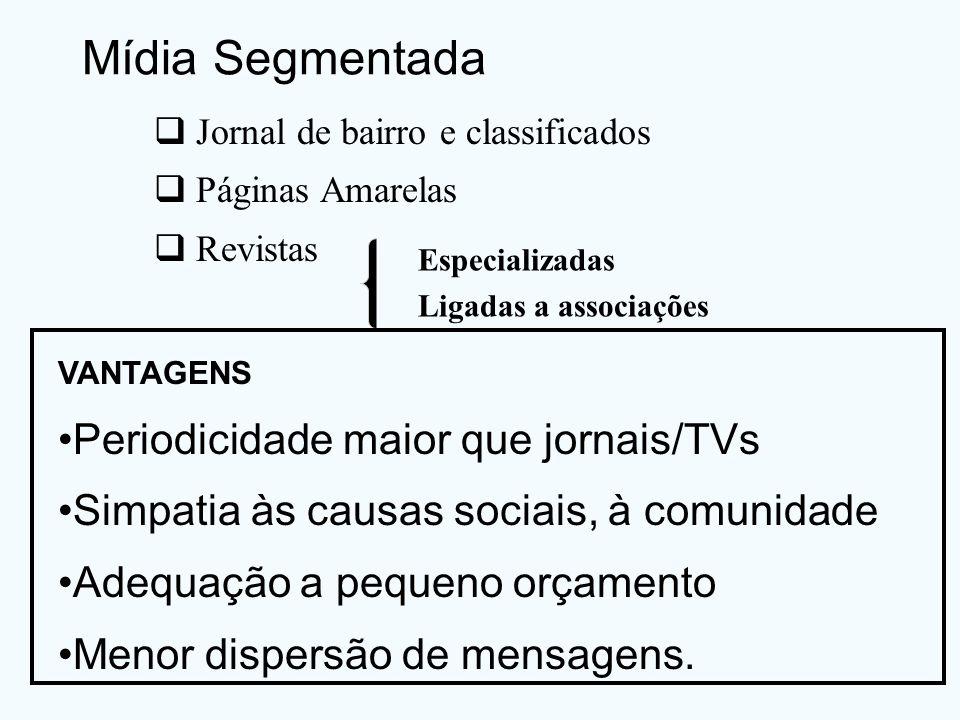 Mídia Segmentada Jornal de bairro e classificados Páginas Amarelas Revistas Especializadas Ligadas a associações VANTAGENS Periodicidade maior que jor