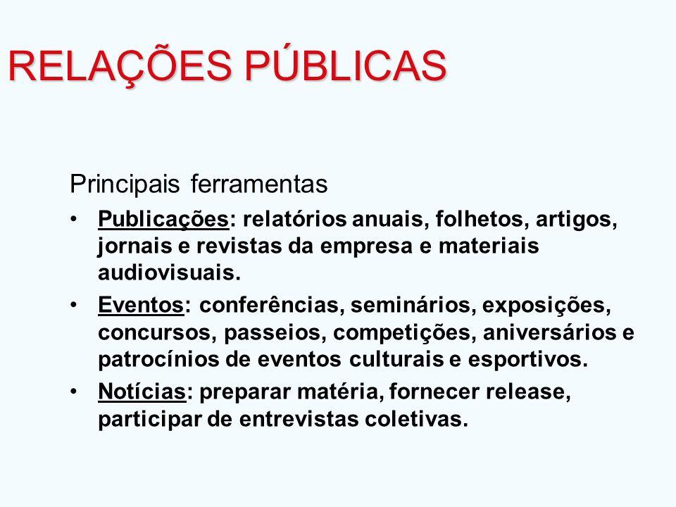Principais ferramentas Publicações: relatórios anuais, folhetos, artigos, jornais e revistas da empresa e materiais audiovisuais. Eventos: conferência
