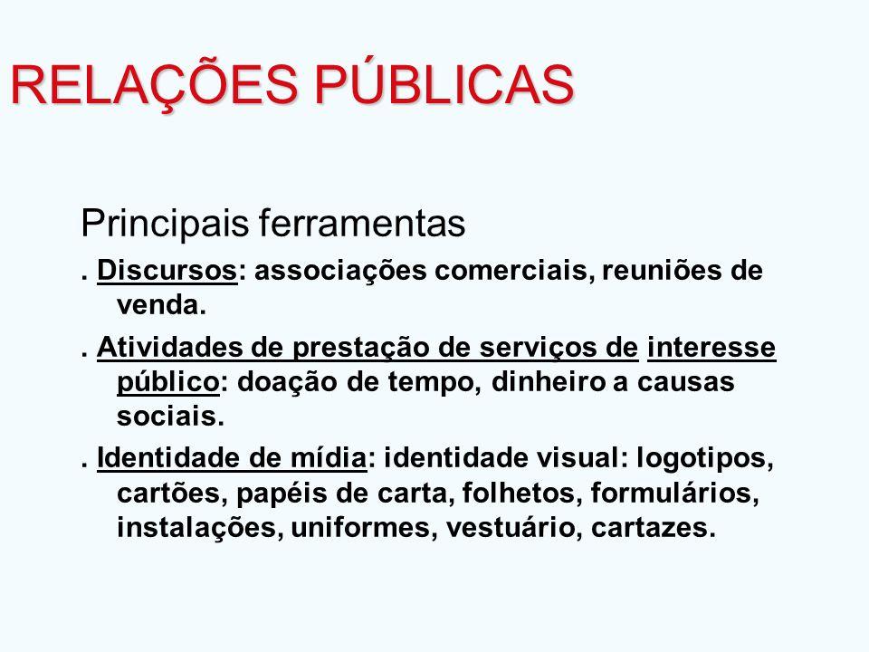 Principais ferramentas. Discursos: associações comerciais, reuniões de venda.. Atividades de prestação de serviços de interesse público: doação de tem