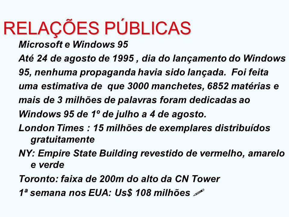Microsoft e Windows 95 Até 24 de agosto de 1995, dia do lançamento do Windows 95, nenhuma propaganda havia sido lançada. Foi feita uma estimativa de q