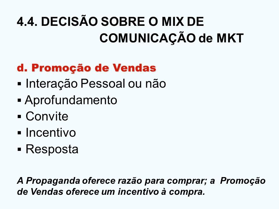 4.4. DECISÃO SOBRE O MIX DE COMUNICAÇÃO de MKT Promoção de Vendas d. Promoção de Vendas Interação Pessoal ou não Aprofundamento Convite Incentivo Resp