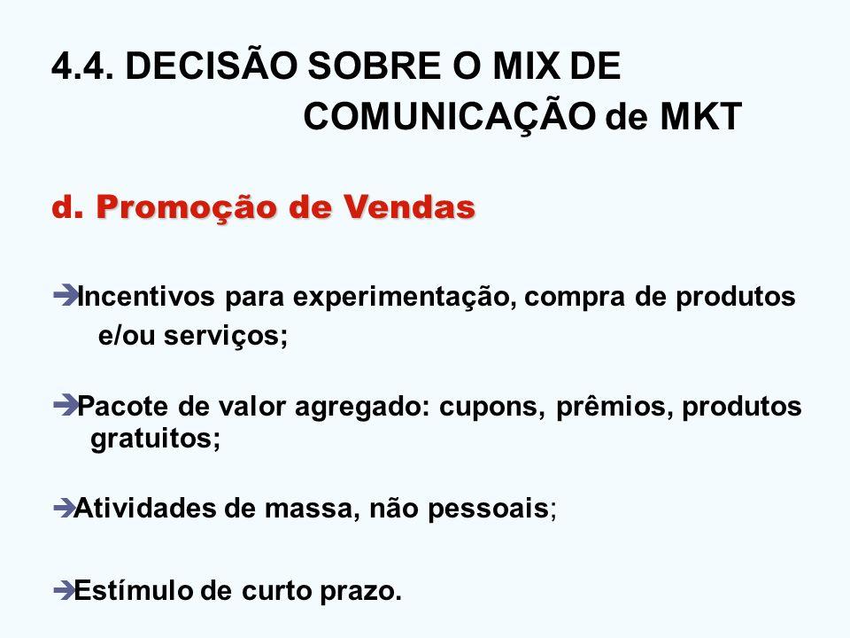 4.4. DECISÃO SOBRE O MIX DE COMUNICAÇÃO de MKT Promoção de Vendas d. Promoção de Vendas Incentivos para experimentação, compra de produtos e/ou serviç