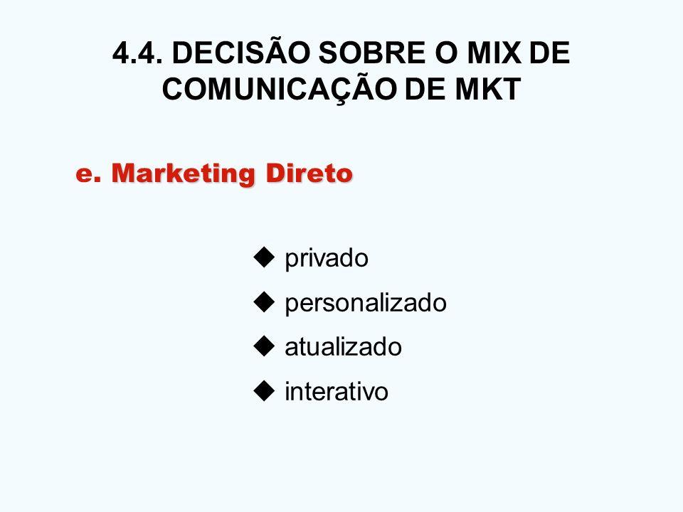 4.4. DECISÃO SOBRE O MIX DE COMUNICAÇÃO DE MKT privado personalizado atualizado interativo Marketing Direto e. Marketing Direto