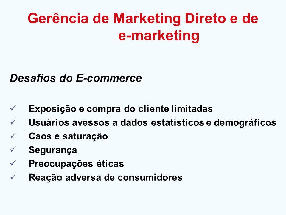 Desafios do E-commerce Exposição e compra do cliente limitadas Usuários avessos a dados estatísticos e demográficos Caos e saturação Segurança Preocup