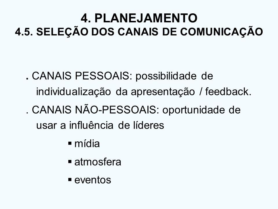 4. PLANEJAMENTO 4.5. SELEÇÃO DOS CANAIS DE COMUNICAÇÃO. CANAIS PESSOAIS: possibilidade de individualização da apresentação / feedback.. CANAIS NÃO-PES
