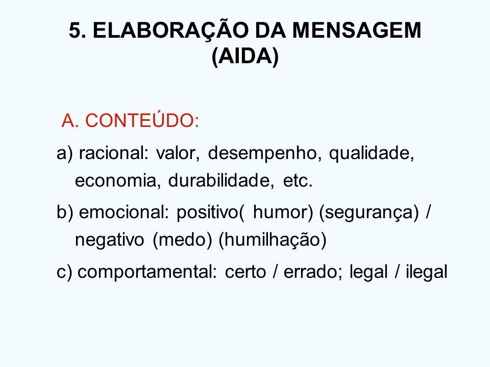 A. CONTEÚDO: a) racional: valor, desempenho, qualidade, economia, durabilidade, etc. b) emocional: positivo( humor) (segurança) / negativo (medo) (hum