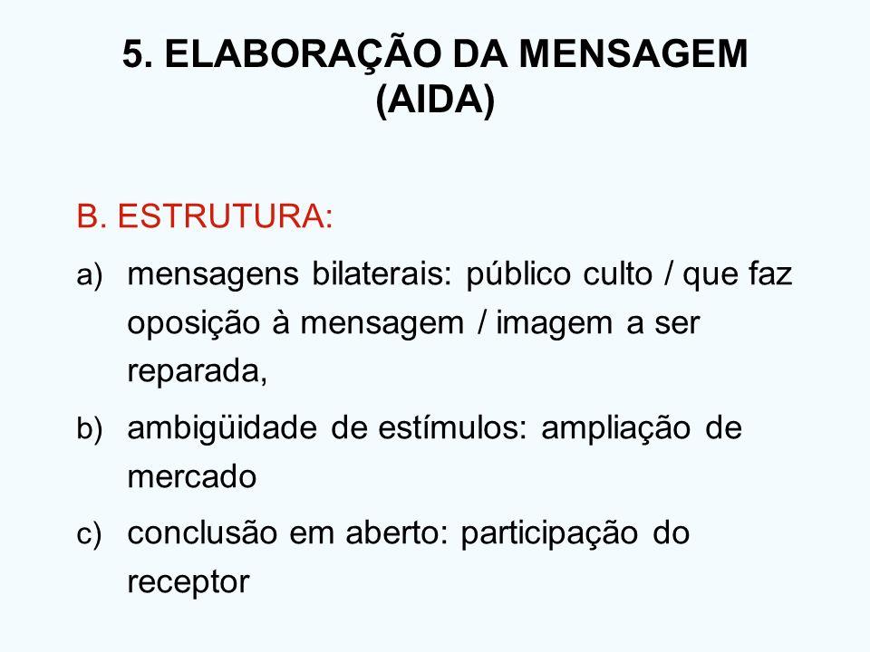 5. ELABORAÇÃO DA MENSAGEM (AIDA) B. ESTRUTURA: a) mensagens bilaterais: público culto / que faz oposição à mensagem / imagem a ser reparada, b) ambigü