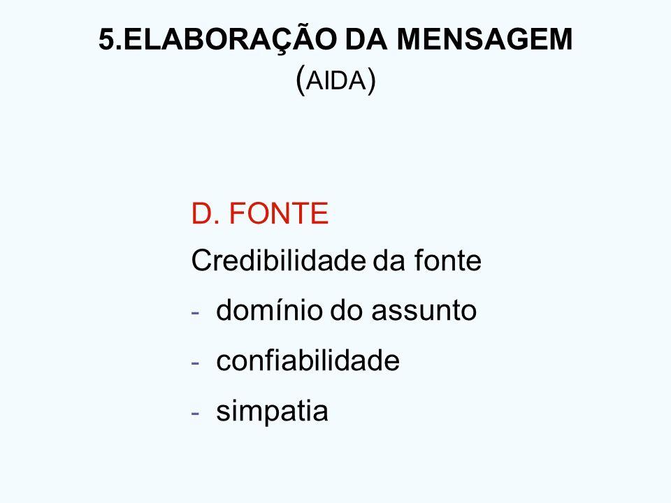 5.ELABORAÇÃO DA MENSAGEM ( AIDA ) D. FONTE Credibilidade da fonte - domínio do assunto - confiabilidade - simpatia