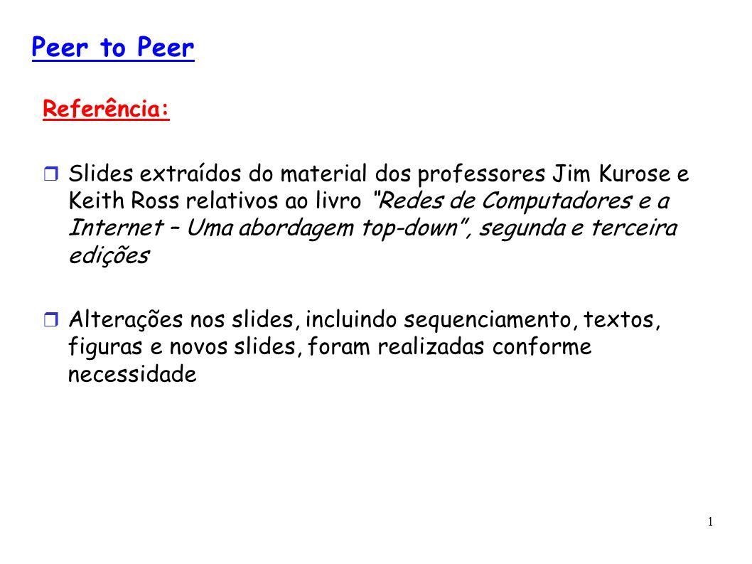 1 Peer to Peer Referência: Slides extraídos do material dos professores Jim Kurose e Keith Ross relativos ao livro Redes de Computadores e a Internet