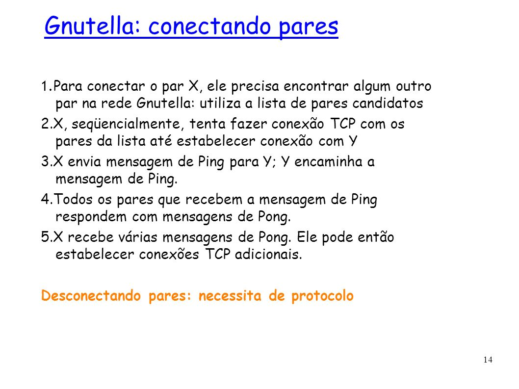 14 1. Para conectar o par X, ele precisa encontrar algum outro par na rede Gnutella: utiliza a lista de pares candidatos 2.X, seqüencialmente, tenta f