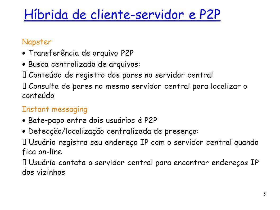5 Napster Transferência de arquivo P2P Busca centralizada de arquivos: Conteúdo de registro dos pares no servidor central Consulta de pares no mesmo s