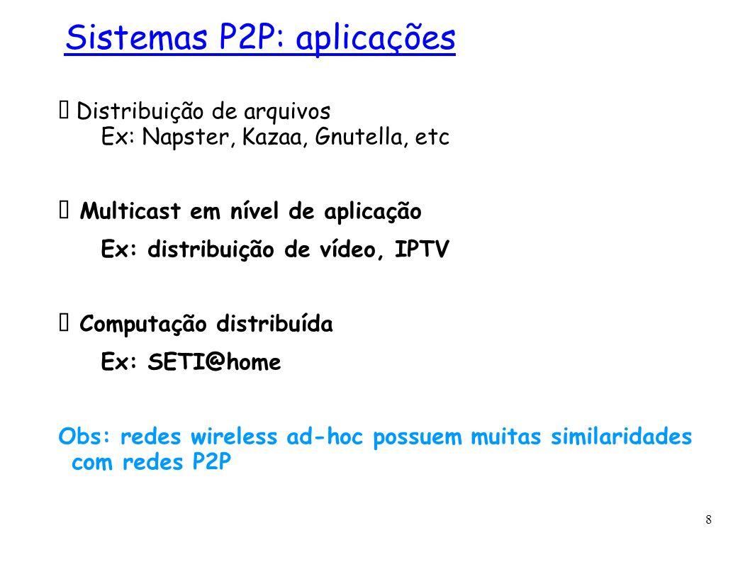 8 Distribuição de arquivos Ex: Napster, Kazaa, Gnutella, etc Multicast em nível de aplicação Ex: distribuição de vídeo, IPTV Computação distribuída Ex