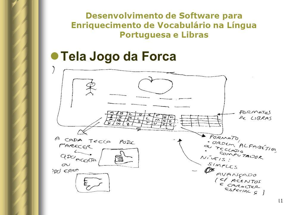 11 Desenvolvimento de Software para Enriquecimento de Vocabulário na Língua Portuguesa e Libras Tela Jogo da Forca