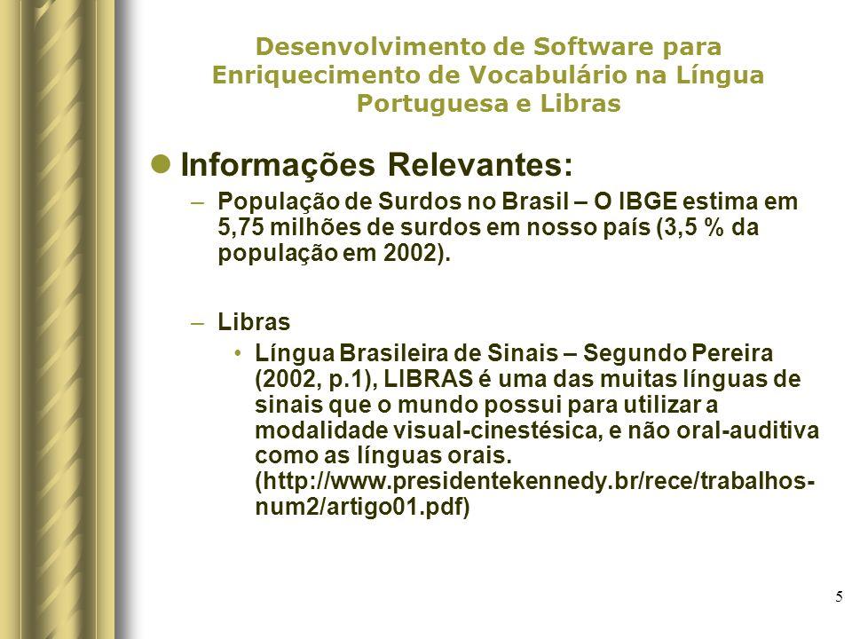 6 Desenvolvimento de Software para Enriquecimento de Vocabulário na Língua Portuguesa e Libras Ferramentas/Projetos de Ferramentas encontrados: –Dicionário digital para surdos com vídeos, imagens e palavras http://federativo.bndes.gov.br/bf_bancos/noticias/n0002 311.pdf http://www.governoeletronio.e.gov.br/NoticiasTexto.asp ?id_noticias-1002http://www.governoeletronio.e.gov.br/NoticiasTexto.asp ?id_noticias-1002 –Elaboração de um Sistema de Ensino para Surdos que sistematiza o o ensino da língua portuguesa partindo de uma perspectiva com Libras (UNIVALI/SC) http://www.presidentekennedy.br/rece/trabalhos- num2/artigo01.pdf