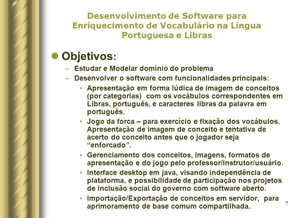 8 Desenvolvimento de Software para Enriquecimento de Vocabulário na Língua Portuguesa e Libras Modelo Domínio (inicial) Conceito Dicionário VocábuloLíngua Oral {Português} Visual {LIBRAS} CaracterLibras Transliterador