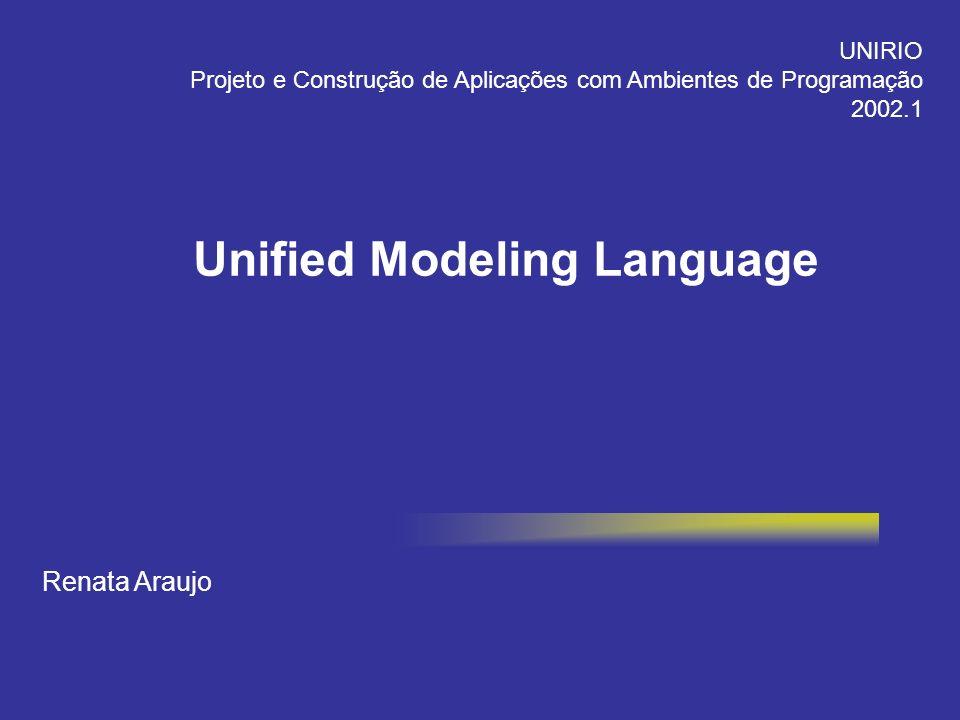 Renata Araujo UNIRIO Projeto e Construção de Aplicações com Ambientes de Programação 2002.1 Unified Modeling Language