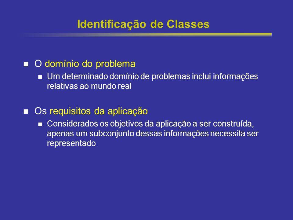 10 Identificação de Classes O domínio do problema Um determinado domínio de problemas inclui informações relativas ao mundo real Os requisitos da apli