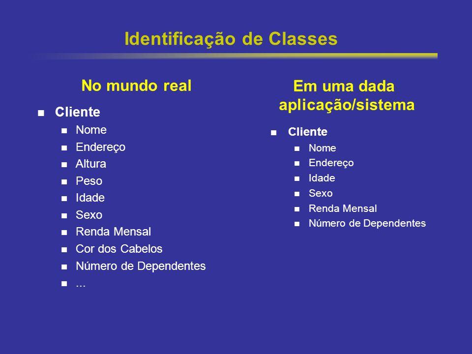 11 Identificação de Classes Cliente Nome Endereço Altura Peso Idade Sexo Renda Mensal Cor dos Cabelos Número de Dependentes... Cliente Nome Endereço I