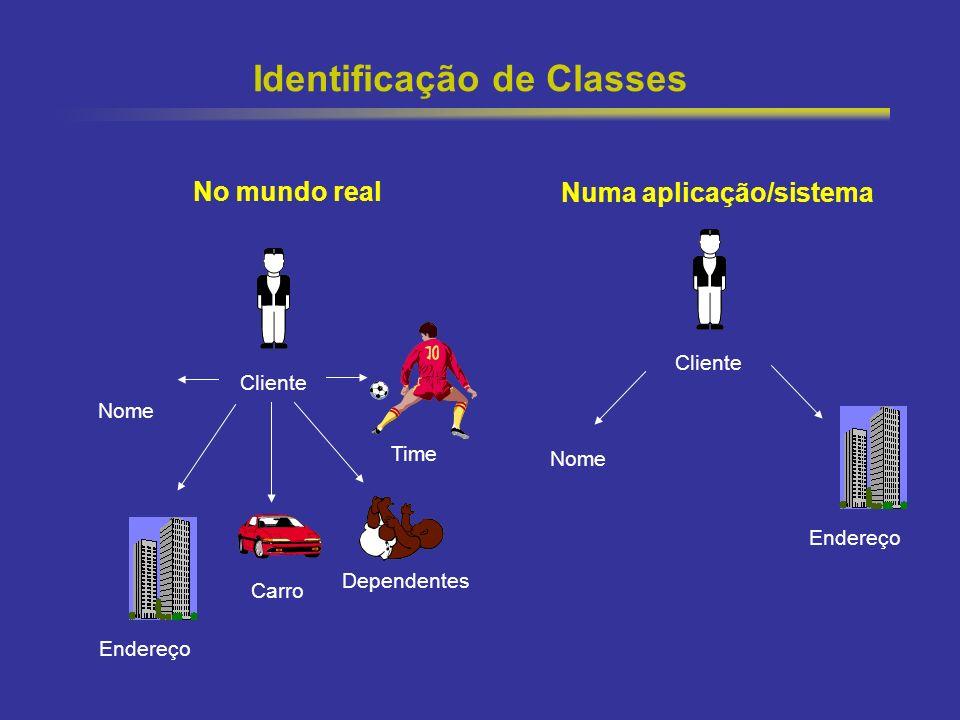 12 Identificação de Classes No mundo real Numa aplicação/sistema Cliente Endereço Carro Dependentes Time Nome Cliente Nome Endereço