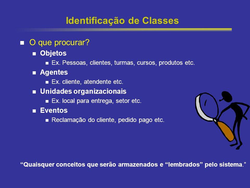 13 Identificação de Classes O que procurar? Objetos Ex. Pessoas, clientes, turmas, cursos, produtos etc. Agentes Ex. cliente, atendente etc. Unidades