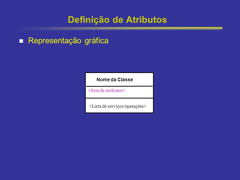 18 Definição de Atributos Representação gráfica Nome da Classe