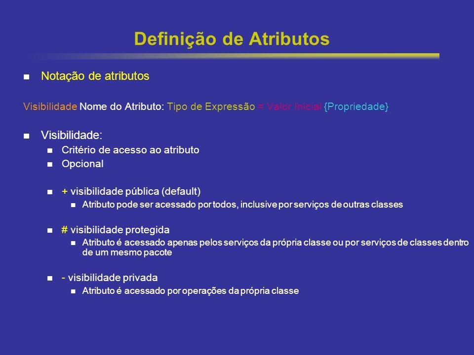 19 Definição de Atributos Notação de atributos Visibilidade Nome do Atributo: Tipo de Expressão = Valor Inicial {Propriedade} Visibilidade: Critério d
