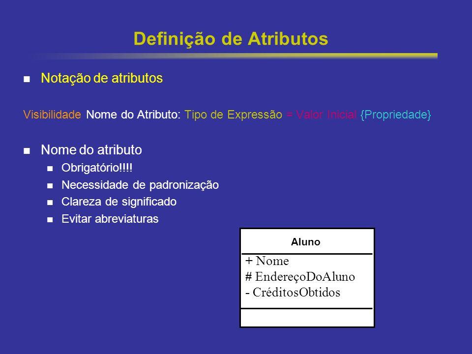21 Definição de Atributos Notação de atributos Visibilidade Nome do Atributo: Tipo de Expressão = Valor Inicial {Propriedade} Nome do atributo Obrigat