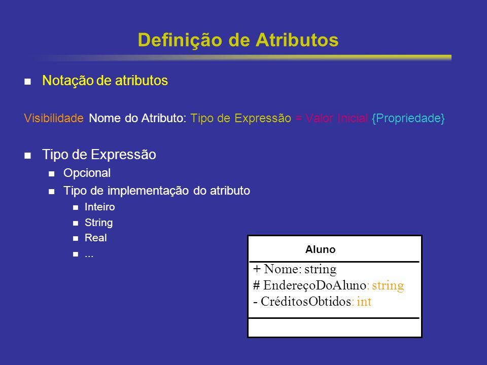 22 Definição de Atributos Notação de atributos Visibilidade Nome do Atributo: Tipo de Expressão = Valor Inicial {Propriedade} Tipo de Expressão Opcional Tipo de implementação do atributo Inteiro String Real...