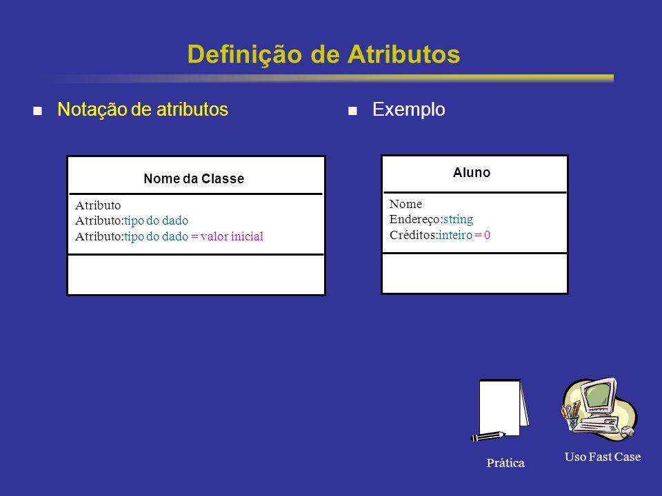 25 Definição de Atributos Notação de atributos Exemplo Nome da Classe Atributo Atributo:tipo do dado Atributo:tipo do dado = valor inicial Aluno Nome Endereço:string Créditos:inteiro = 0 Uso Fast Case Prática