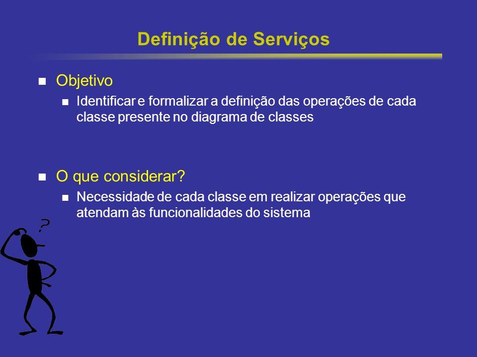 26 Definição de Serviços Objetivo Identificar e formalizar a definição das operações de cada classe presente no diagrama de classes O que considerar?
