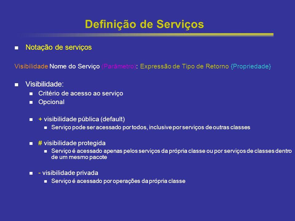 28 Definição de Serviços Notação de serviços Visibilidade Nome do Serviço (Parâmetro): Expressão de Tipo de Retorno {Propriedade} Visibilidade: Critério de acesso ao serviço Opcional + visibilidade pública (default) Serviço pode ser acessado por todos, inclusive por serviços de outras classes # visibilidade protegida Serviço é acessado apenas pelos serviços da própria classe ou por serviços de classes dentro de um mesmo pacote - visibilidade privada Serviço é acessado por operações da própria classe
