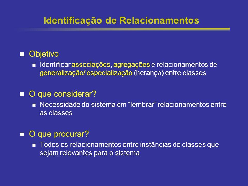 35 Identificação de Relacionamentos Objetivo Identificar associações, agregações e relacionamentos de generalização/ especialização (herança) entre classes O que considerar.