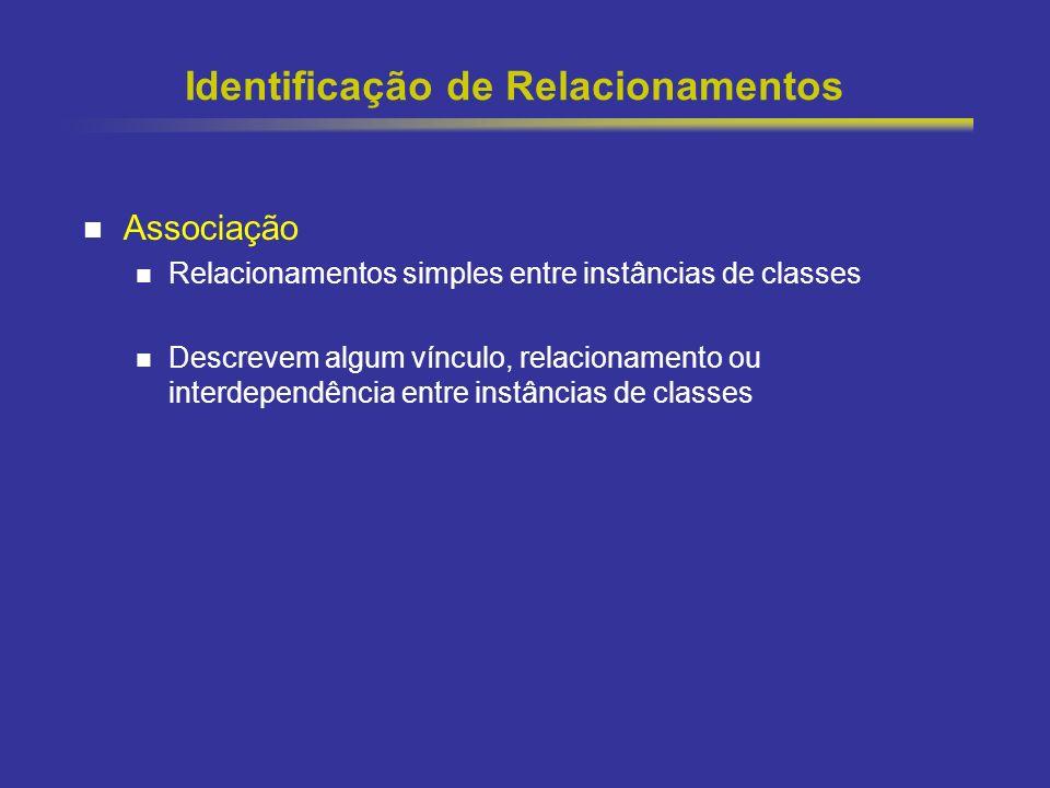 36 Identificação de Relacionamentos Associação Relacionamentos simples entre instâncias de classes Descrevem algum vínculo, relacionamento ou interdep