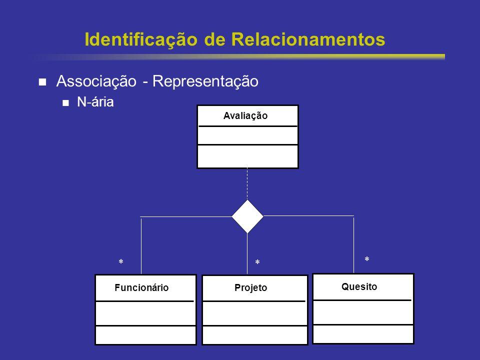 38 Identificação de Relacionamentos Associação - Representação N-ária Avaliação FuncionárioQuesito * * Projeto *